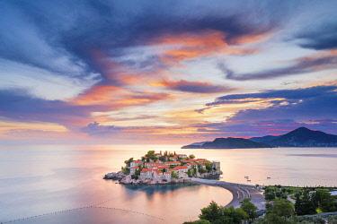 MNT0074AW Island village of Sveti Stephan, Sveti Stephan, Budva, Montenegro