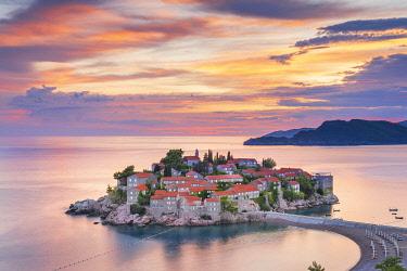 MNT0075AW Island village of Sveti Stephan, Sveti Stephan, Budva, Montenegro