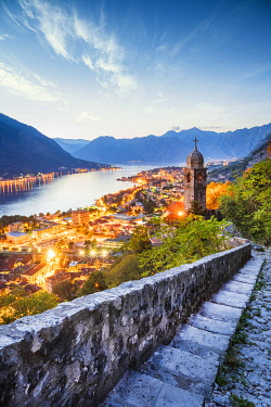 Sunset over Kotor, Kotor Bay, Montenegro