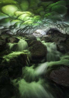 FRA12076AW Ice cave under the Glacier Blanc in the Ecrins National Park (Dauphiné region) in the French Alps