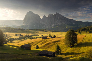 ITA16420AW Alpine meadow and wooden huts in the Dolomites, Italy