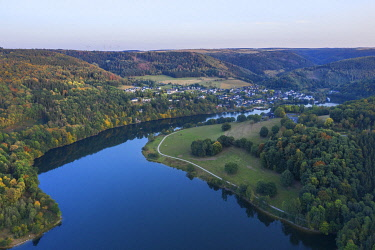 GER12586AW Aerial view at the Obersee part of the Lake Rur in the evening, Eifel National Parc, Eifel, North Rhine Westphalia, Germany