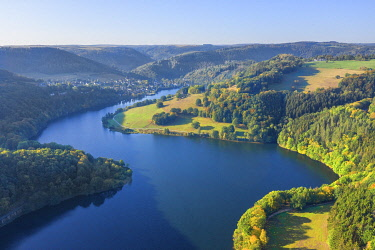GER12588AW Aerial view at the Obersee part of the Lake Rur in the morning, Eifel National Parc, Eifel, North Rhine Westphalia, Germany