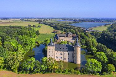 GER12594AW Aerial view on Veynau castle, Euskirchen, Eifel, North Rhine Westphalia, Germany