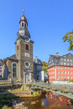 GER12628AW City church of Monschau, Eifel, North Rhine Westphalia, Germany