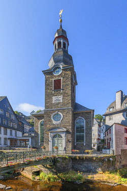 GER12633AW City church of Monschau, Eifel, North Rhine Westphalia, Germany