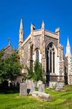 ENG18206AW UK, England, Kent, Dover, The rear façade of St Mary's Church in the centre of Dover.