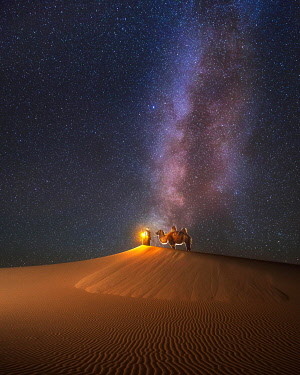 IBXERB05776647 Camel herder under beautiful milky way in Mongolian gobi desert. Umnugobi province, Mongolia, Asia