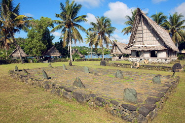 IBXFRS05776673 Museum village with traditional houses of the South Sea culture, Yap Island, Micronesia, Oceania