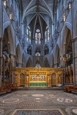 ENG18268AW Europe, UK, England, London, Westminster, Westminster Abbey, interior of the ancient Gothic Abbey and Unesco World Heritage Site, historic monument and Anglican church, 19th Century Gothic Revival alt...
