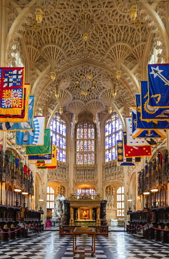 ENG18285AW UK, England, London, Westminster, Westminster Abbey, interior of the ancient Gothic Abbey and Unesco World Heritage Site, historic monument and Anglican church, the Henry VII lady chapel with Perpendi...