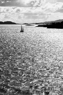 SCO35885 Scotland, Isle of Mull, Inner Hebrides, Sail boat crossing Loch Linnhe from Oban to Isle of Mull