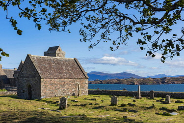SCO35903 Scotland, Isle of Mull, Inner Hebrides, Iona Abbey, It is one of the oldest Christian religious centres in Western Europe, a monastic community founded by St. Columba in 563
