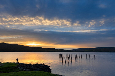 SCO35942 Scotland, Isle of Mull, Inner Hebrides, Salen, Remains of the old Pier