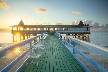 ANB0028AW Caribbean, Antigua, Dickinson Bay, Dickinson Bay Beach, Warri Pier