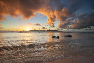 SEY1070AW Boats on Anse Reunion, La Digue, Seychelles