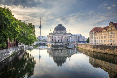 GER12691AW Germany, Berlin, Museum Island, Spree River, baroque style Bode museum and the tv tower
