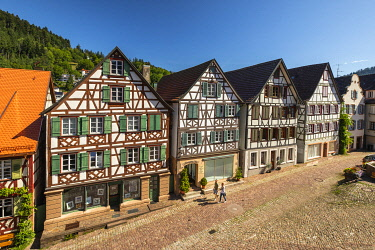 GER12808AW Half-timbered houses in Schiltach, Kinzigtal Valley, Black Forest, Baden-Wurttemberg, Germany
