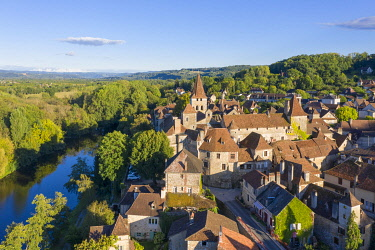 FRA12130AW France, Occitanie, Lot, aerial view of Carennac, classified as one of the most beautiful villages in France