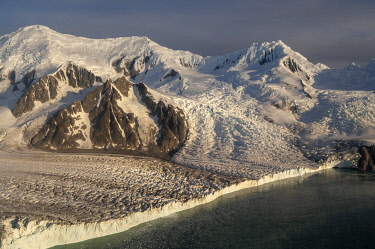 Antarctica, South Shetlands Islands, Livingston Island, False Bay, Helicopter flight on Huntress Glacier.