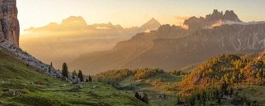 CLKCC134276 Cason di Formin mountains during a summer sunrise, Dolomites, municipality of Cortina d'Ampezzo, Belluno province, Veneto, Italy