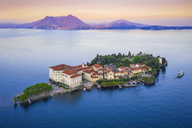 CLKMC136346 Aerial view of the Borromean Islands during a summer sunset. Stresa, Lago Maggiore, Verbano Cusio Ossola district, Piedmont, Italy.