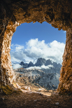 CLKMG132841 the Cadini di Misurina group seen from a war cave at the foots of the Tre Cime di Lavaredo, Dolomites, Auronzo di Cadore, Belluno, Veneto, Italy