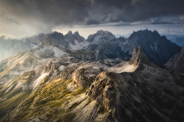 Aerial view of Scarpieri Tower and Sesto Dolomites. Bolzano province, South Tyrol, Italy[credit][sep = / ]