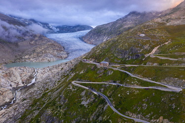 CLKMB136267 Aerial view of Hotel Belvedere Furkapass and Rhone Glacier in summer, Uri, Canton Vallese, Oberalp, Switzerland