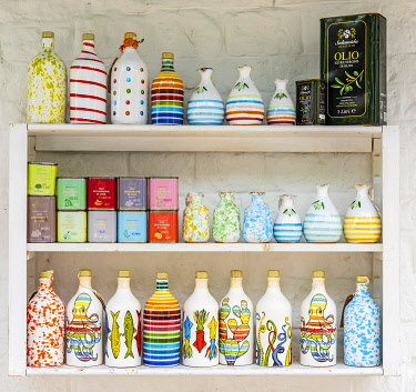 Italy, Apulia. Alberobello, some local products like olive oil and ceramic bottles.