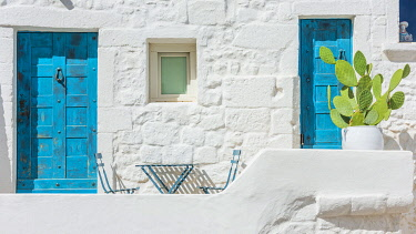 ITA16495AW Italy, Apulia. Ostuni, the white facades of the houses in the historic center.
