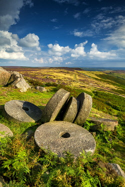 Millstones at Stanage Edge, Peak District National Park, Derbyshire, England