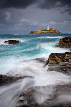 Godrevy Lighthouse, St. Ives Bay, Cornwall, England[credit][sep = / ]