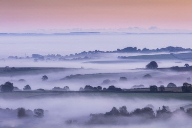ENG18761AW Misty dawn from Pilsdon Pen, Dorset, England, UK