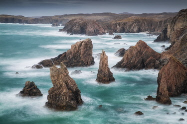 SCO36145AW Sea Stacks at Aird Feinis, Isle of Lewis, Scotland