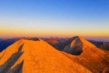 BUL0478 Europe, Bulgaria, Bansko, Pirin National Park mountains, Vihren summit 2914m second highest peak in Bulgaria, and Kutelo peak