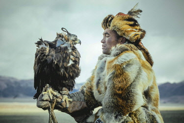 IBLFBA05905336 Festival of eagle hunters in the province of Olgii, about 20 km from the provincial capital. Various modalities of hunting, equestrian games and breaking in new mounts are presented, portrait of an ea...