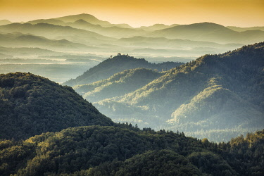 Rolling hills and woodland near Jamnik, Slovenia