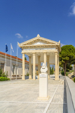 School building and sculptures, Paphos, Cyprus