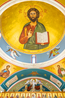 Ceiling Icon painting inside St Nicholas Church or Ayios Nicholaos ,Geroskipou, Paphos, Cyprus