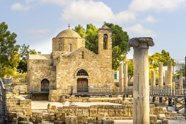 St Pauls Pillar and Agia Kyriaki church or the ancient Chrysopolitissa Basilica, 13th Century, Paphos, Cyprus