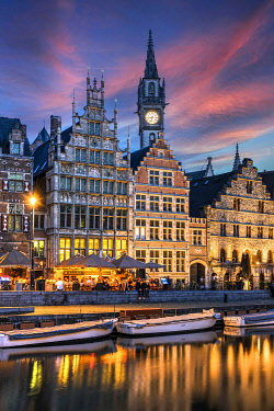 Graslei quay and guild houses of the old town, Ghent, East Flanders, Belgium