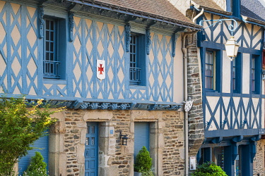 France, Brittany, Morbihan, Josselin, rue des Vierges, half-timbered houses, former merchant homes dating from the 16th century