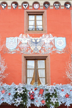France, Grand Est, Alsace, Bas Rhin, Haguenau, facade of the old chancellery which became the Alsatian Museum of Haguenau during the traditional Alsatian Christmas market