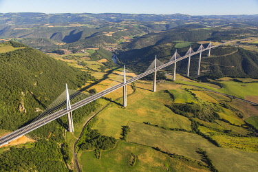 France, Occitanie, Aveyron, Grands Causses regional natural park, Millau viaduct, architects Michel Virlogeux and Norman Foster, between Causse du Larzac and Causse de Sauveterre above the Tarn (aeria...
