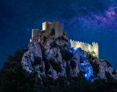 France, Occitanie, Aude, Lapradelle Puilaurens, castle of Puilaurens, night view of the castle