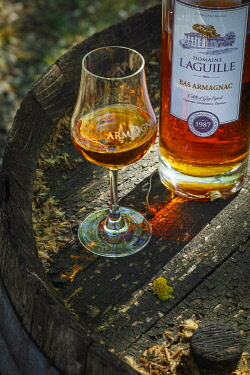 France, Occitanie, Midi-Pyrenees, Gascogne, Gers, Eauze, Saint Amand, Laguille winery, glass and bottle of armagnac on a barrel