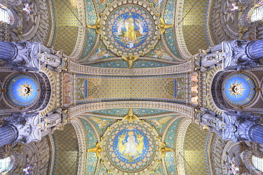 France, Auvergne-Rhone-Alpes, Lyon, Notre Dame de Fourviere basilica (late 19th century) in Romano Byzantine style designed by the architects Bossan and Sainte Marie Perrin, the ceiling