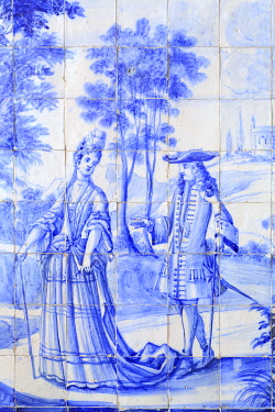 Portugal, Lisbon, Xabregas, Palácio de Xabregas, private palace from the 17th and 18th century, azulejos rising from aristocrats strolling in a garden