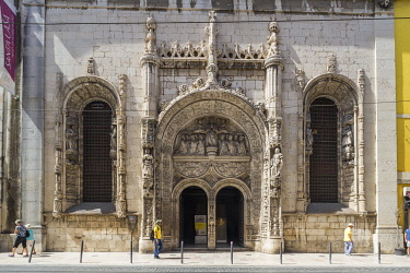 Portugal, Lisbon, Baixa, Old Church of Our Lady of the Conception, the facade is one of the very few examples of Manuelian style having withstood the earthquake of 1755